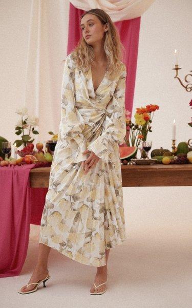 Cresta Floral-Print Wrap Midi Dress