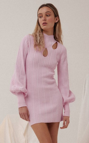 Mary Cutout Ribbed-Knitted Mini Dress