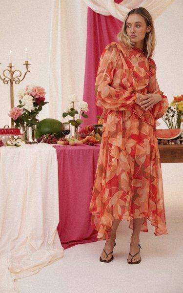 Cedar Draped Floral-Print Chiffon Midi Dress