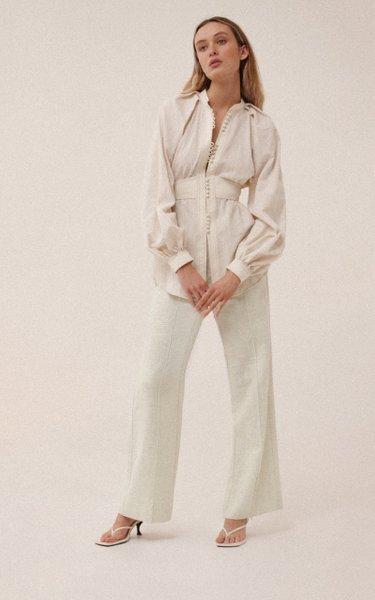 Abbots Linen-Blend Wide-Leg Pants