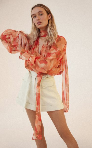 Cedar Scarf-Neck Floral-Print Chiffon Top
