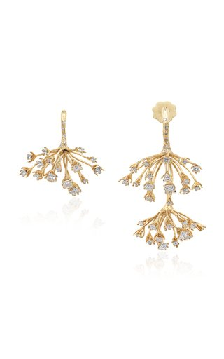 Hog Weed Asymmetric 18K Yellow Gold Diamond Earrings