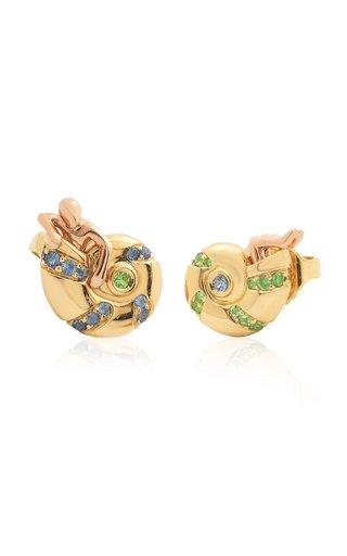 Small Poseidon's Getaway 18K Gold Tsavorite, Sapphire Earrings