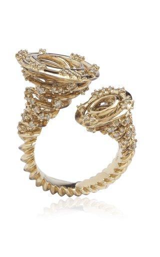 Medium Tornado 18K White Gold Diamond Ring
