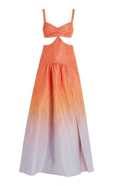 Polignano Gradient-Print Cutout Taffeta Maxi Dress
