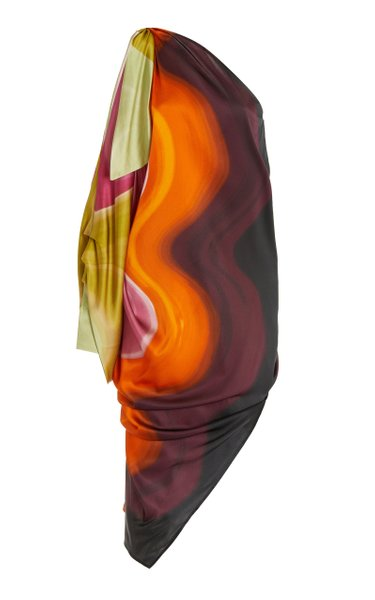 Crema One-Shoulder Silk Midi Dress
