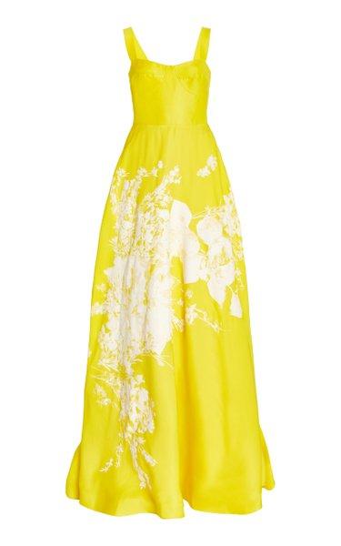 Masteloni Abstract-Print Taffeta Maxi Dress