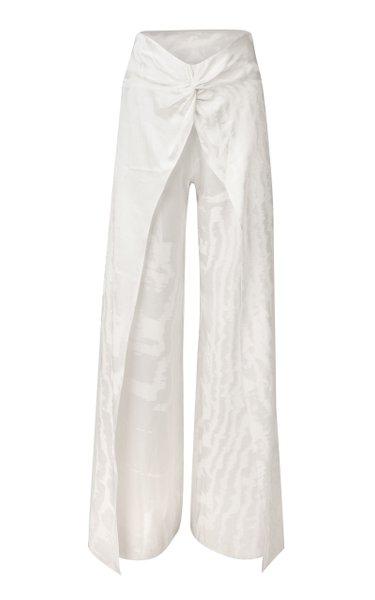 Canturipe Twist-Front Jacquard Wide-Leg Pants