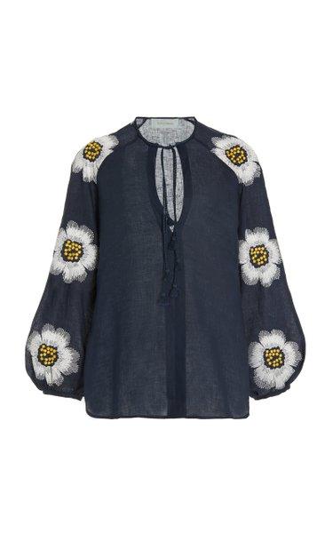 Molveno Embroidered Linen Blouse