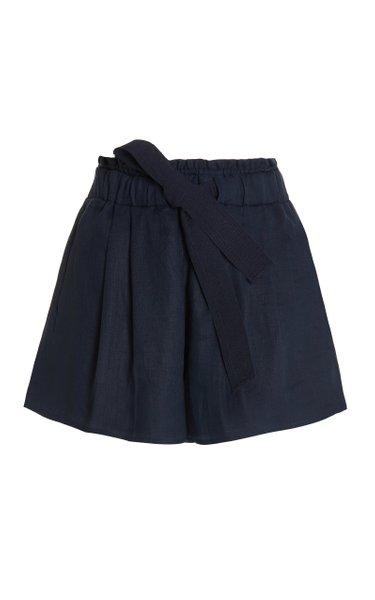 Giorgio Linen Wide-Leg Shorts