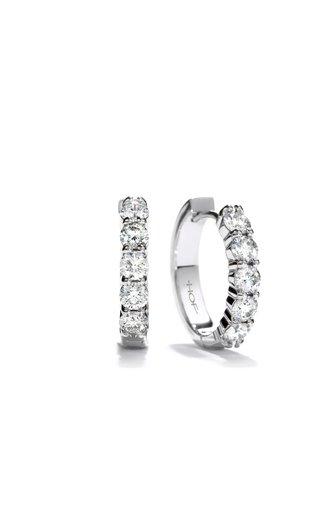 18K White Gold Diamond Mini Hoop Earrings