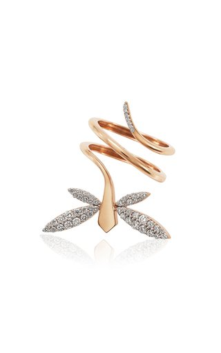 Small Dragonfly 18K Rose Gold Diamond Ring