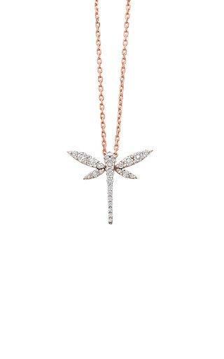 Mini Dragonfly 18K Rose Gold Diamond Necklace