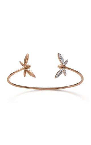 Double Dragonfly 18K Rose Gold Diamond Bracelet