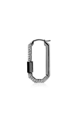 Medium 18K Black Gold Diamond Single Lock Earring