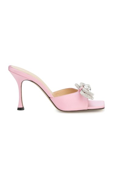 Double Bow Satin Mules