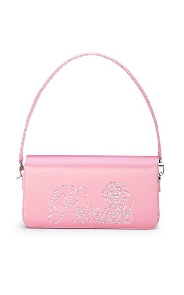 Princess Crystal Satin Baguette Bag