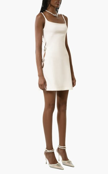 Bow-Embellished Cotton-Blend Mini Dress
