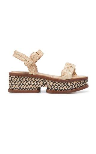 Michael Raffia Leather Sandals