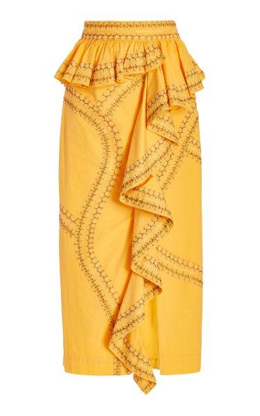 Opal Cotton Midi Skirt