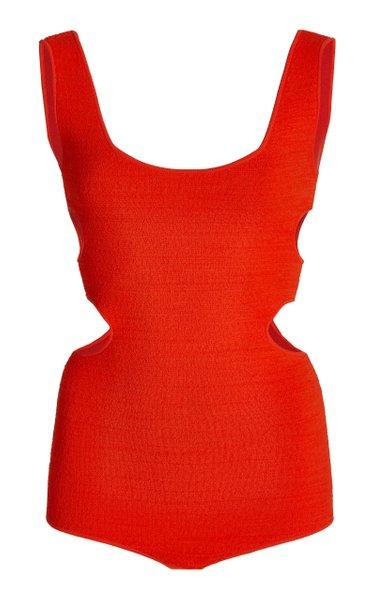 Cutout Textured-Knit Bodysuit