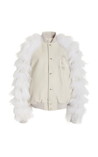 Feather-Trimmed Leather Jacket