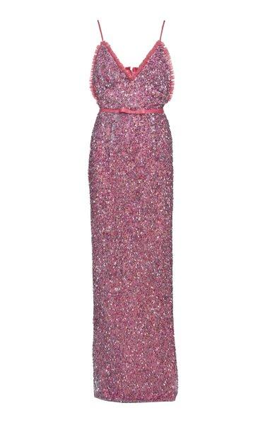 Isabel Sequined Maxi Column Dress