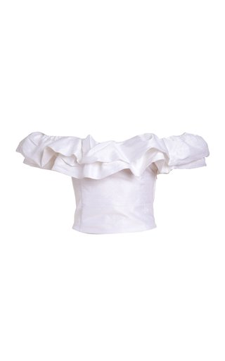 Dahlia Ruffled Silk Off-The-Shoulder Top
