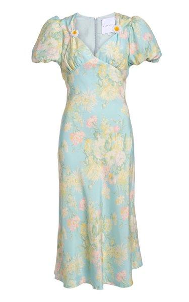 Titian Floral Silk Satin Midi Dress