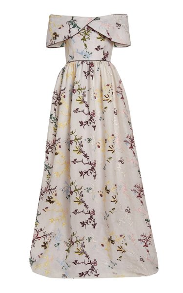 Louise Floral-Embroidered Linen Off-The-Shoulder Gown