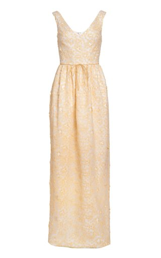 Alice Daisy-Appliqued Off-The-Shoulder Gown