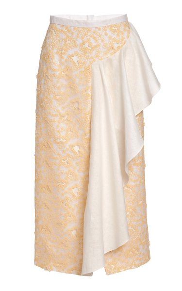Delia Ruffled Daisy-Embroidered Midi Skirt