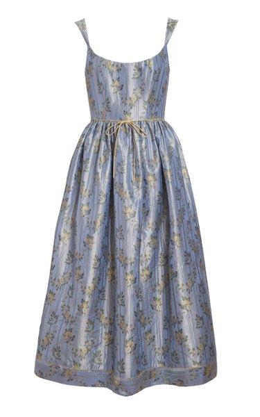 Apple Floral Silk Brocade Midi Dress