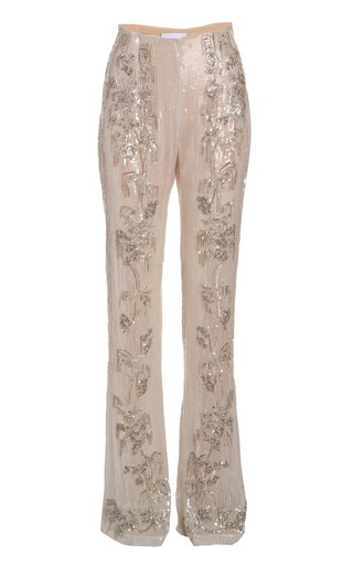 Ines  Crystal-Trimmed Sequined Pants