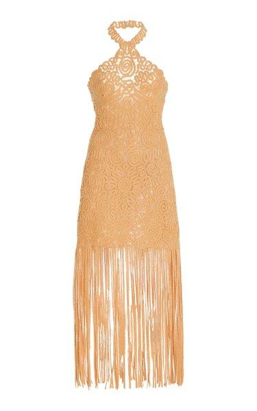 Alisa Embroidered Midi Fringe Dress
