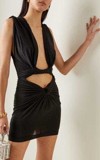 Plunging V-Neck Silk Mini Dress