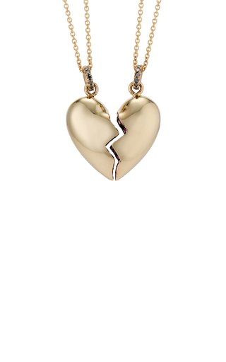 Shared Heart 14K Yellow Gold Ruby, Diamond Necklace Set