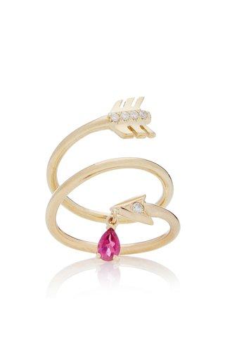 Artemis 14K Yellow Gold Diamond, Tourmaline Ring