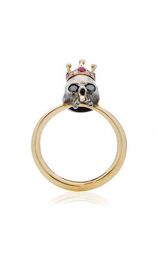 Royal Skull 14K Yellow Gold Multi-Stone Ring