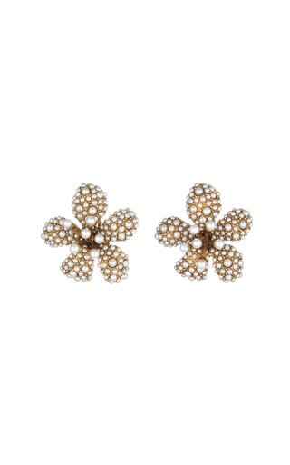 14K Gold-Plated and Pearl Crystal Flora Magnifica Stud Earrings