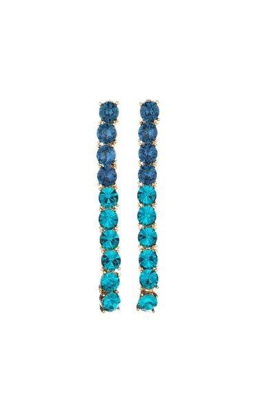 14K Gold-Plated Vertical Crystal Drop Earrings