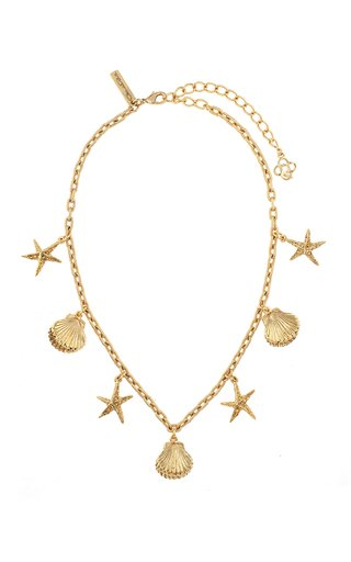 14K Gold-Plated Multi Shell Charm Chain Necklace