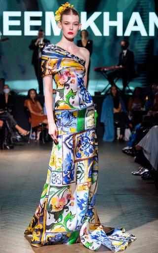 Capri Porcelain Print Asymmetrical Silk Gown