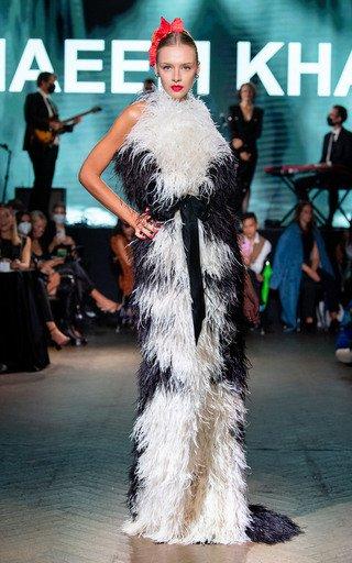 Ostrich Feather Halterneck Gown