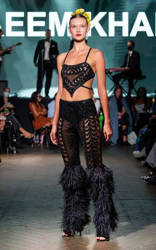 Embroidered Top And Pants Set Without Feathers