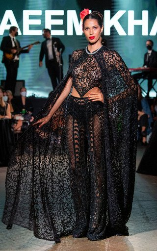 Glass Embroidered Hooded Cape