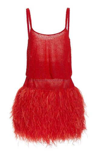 Feather-Trimmed Blouson Mini Dress