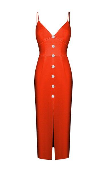 Button-Embellished Satin Midi Dress