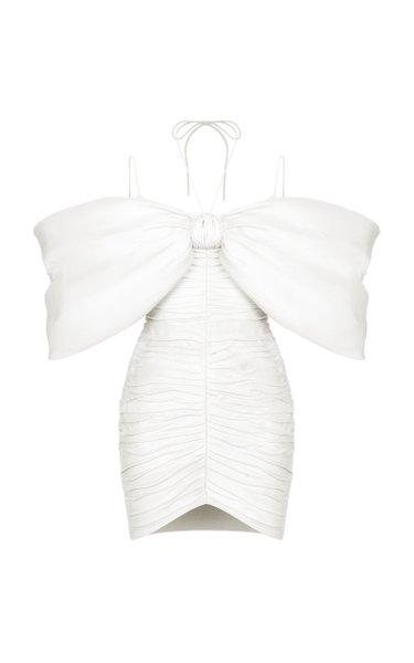 Bow-Embellished Draped Linen-Blend Mini Dress