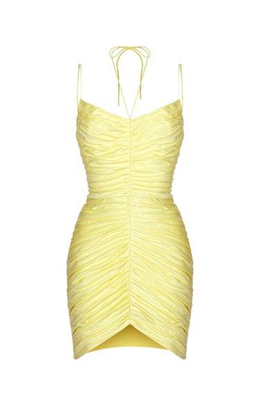 Draped Linen-Blend Mini Dress